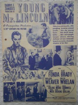 Young Mr Lincoln, Flyer/Herald, Henry Fonda, Alice Brady, '39